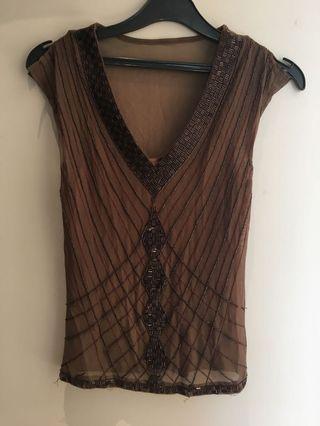 Silk Alannah Hill beads atasan Top sequine party top