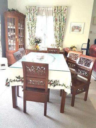 Dining table meja makan 6 kerusi kayu jati