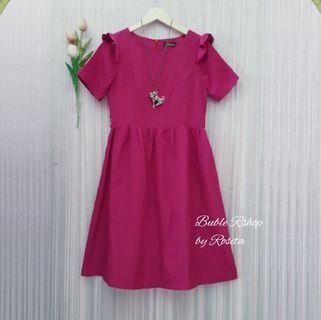 NEW Midi Dress Fushia Socking Pink Merah Muda Tua