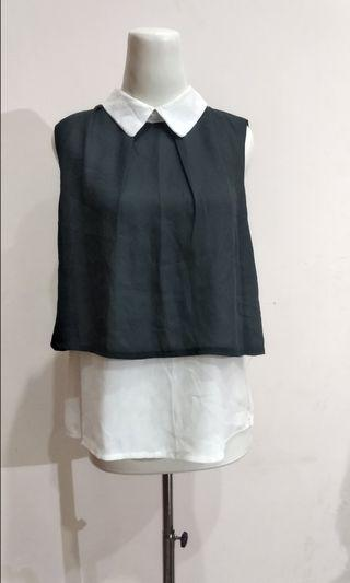 Black And White Top Blouse Atasan Formal Casual Hitam Putih