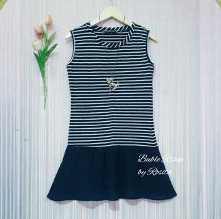 NEW Premium Minidress Singlet Dress inner  Blaster Hitam Putih Salur Garis Garis Black White