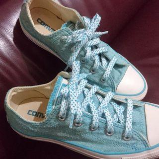 專櫃正品 CONVERSE 馬卡龍 帆布鞋 低筒 短筒 粉藍色 23cm UK4 US6 EUR36.5
