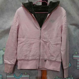 KARL KANI 粉色合身鋪毛外套