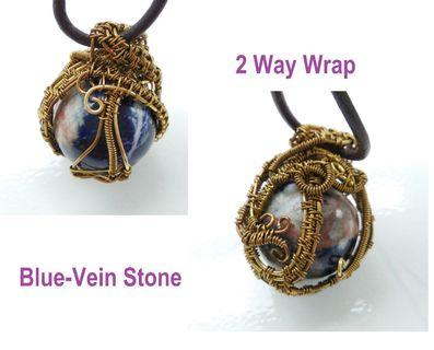 2 Way Wrap Blue Vein Crystal Stone Wire Wrap Natural Healing Rock Necklace