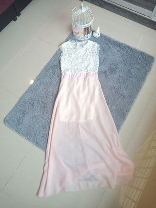 Lace Pink Chiffon Maxi Dress