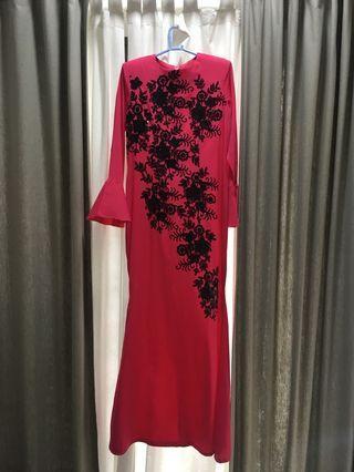 Long pink sequin dress- custom made