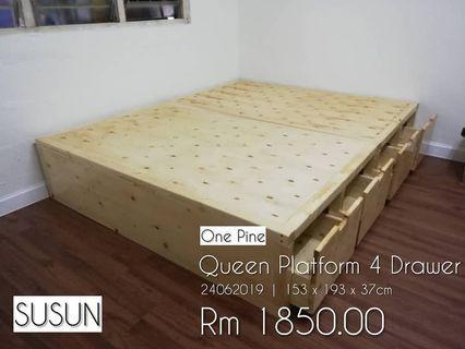 Queen Platform Frame Bed 4 Drawer