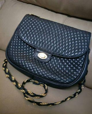 Bally Vintage Black Quilted Leather Handbag