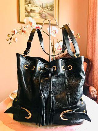 SALE! Large Genuine Leather Bucket Drawstrings Bag