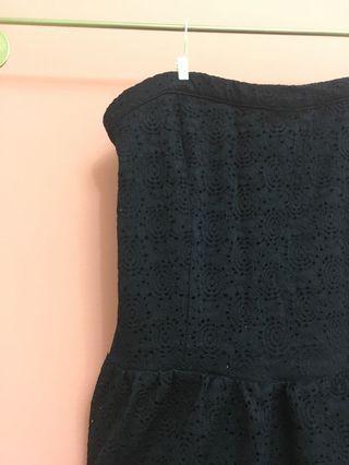 [全新] 時尚 黑 平口 法式 裹胸 連衣裙 簍空 有內襯 蕾絲 洋裝  時尚黑