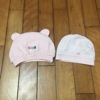 二手 2頂合售 新生兒保暖帽子 幼兒保暖帽 粉色系