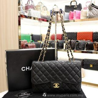 Chanel Classic Black Caviar Single Flap GHW