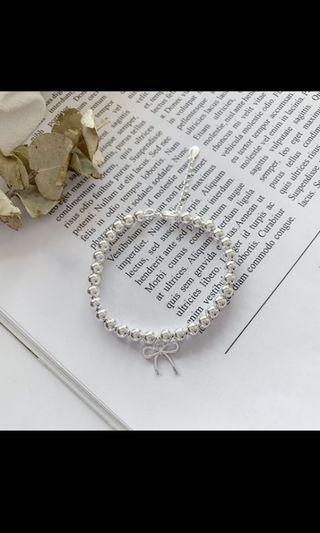 💖新品💖S925蝴蝶結銀珠手鍊