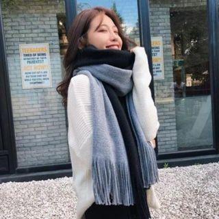 💐💐韓款拼色圍巾(黑+灰) 保暖親膚