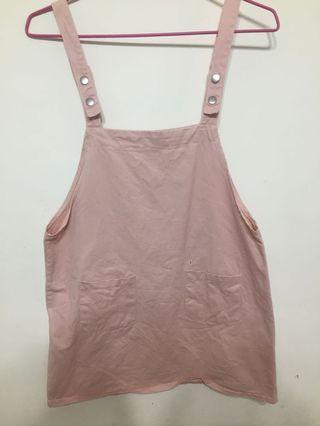 韓系粉紅吊帶裙