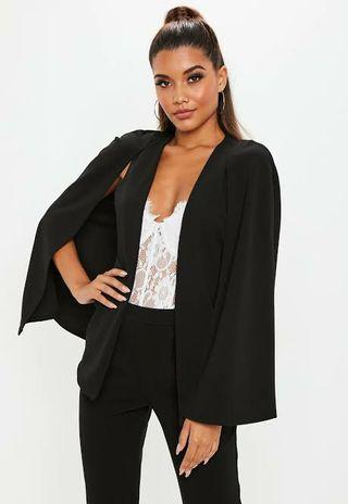 Black Cape Blazer Hitam Tebal Good Quality
