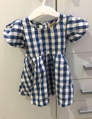 Dress Bayi Kotak-kotak Biru