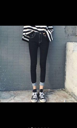 韓國新款修身顯瘦明線高腰九分牛仔褲