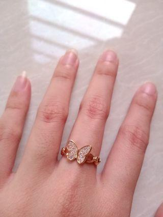 Cincin emas asli kupu butterfly