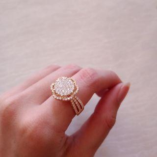 Diamond Ring cincin diamond look emas asli