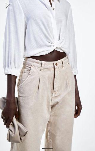 Zara cropped shirt knot