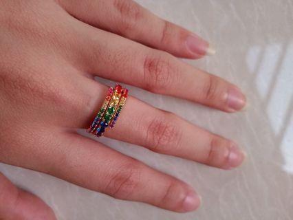 Cincin emas asli rainbow ring 14