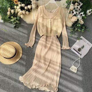 全新轉賣❤️兩件組 杏色針織背心+法式百褶連身裙 有內裡 韓版 歐美