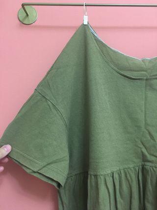 [二手] H&M抹茶綠 軍綠 圓領 中低領 露鎖骨 遮小腹 修身 非輕薄T-shirt