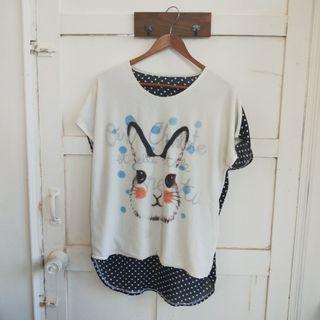 二手 雪紡點點兔子上衣