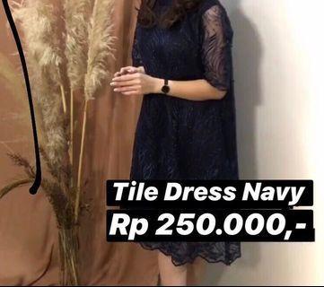 SALE!!! Tile Dress - Navy (Free Ongkir Jabodetabek)