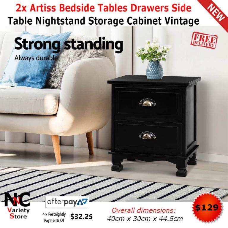 2x Artiss Bedside Tables Drawers Side Table Nightstand Storage Cabinet Vintage