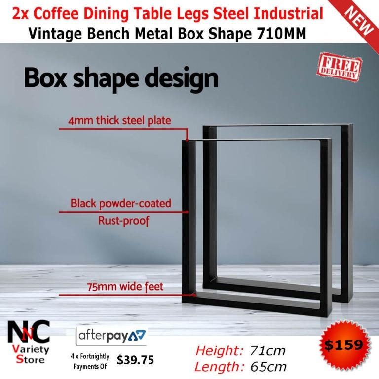 2x Coffee Dining Steel Table Legs Industrial Vintage Bench Metal Box Shape 710MM