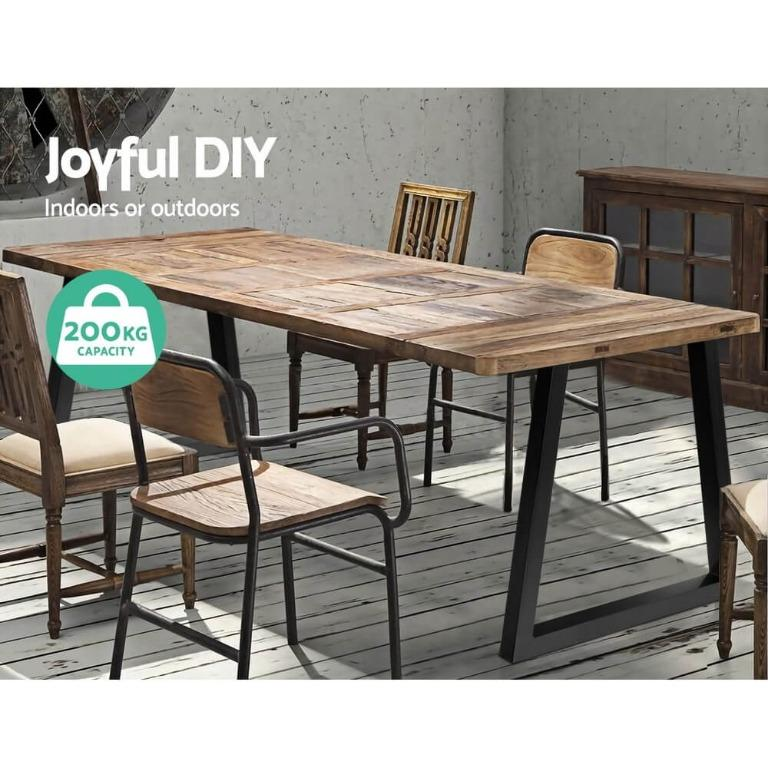 2x Coffee Dining Table Legs Steel Industrial Vintage Bench Metal Trapezoid 710MM