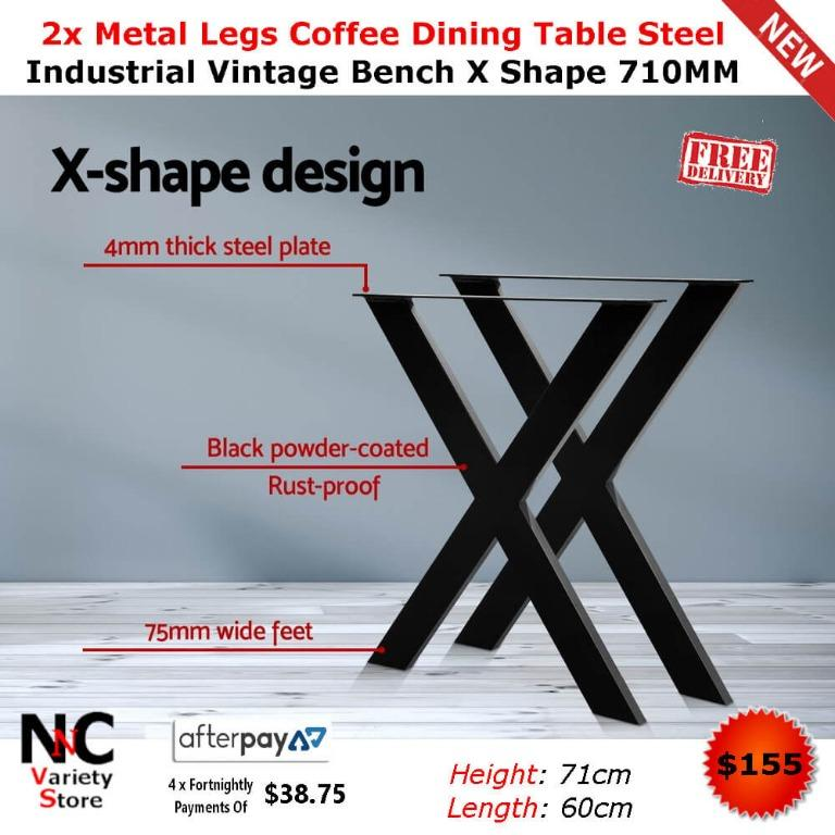 2x Metal Legs Coffee Dining Table Steel Industrial Vintage Bench X Shape 710MM