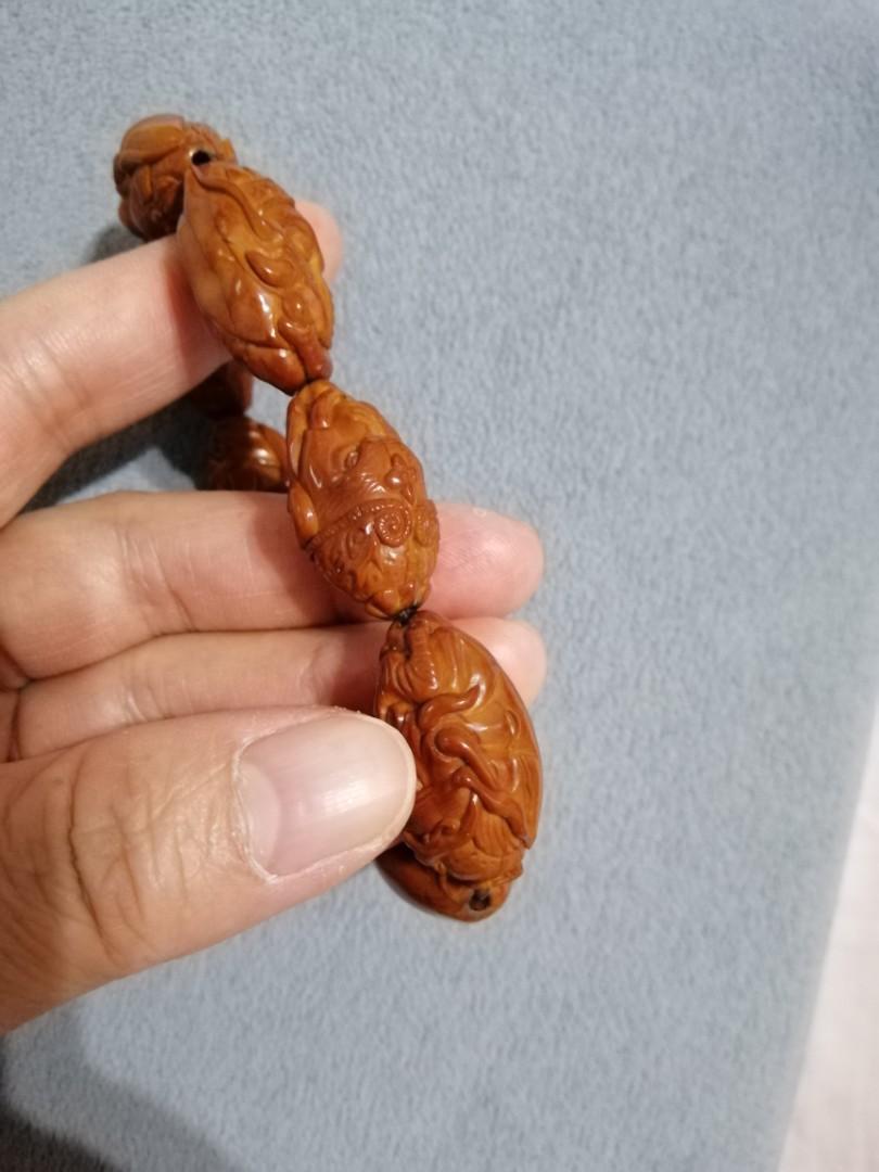 橄欖核雕刻象神手串(1.8大籽男串)聚財象征
