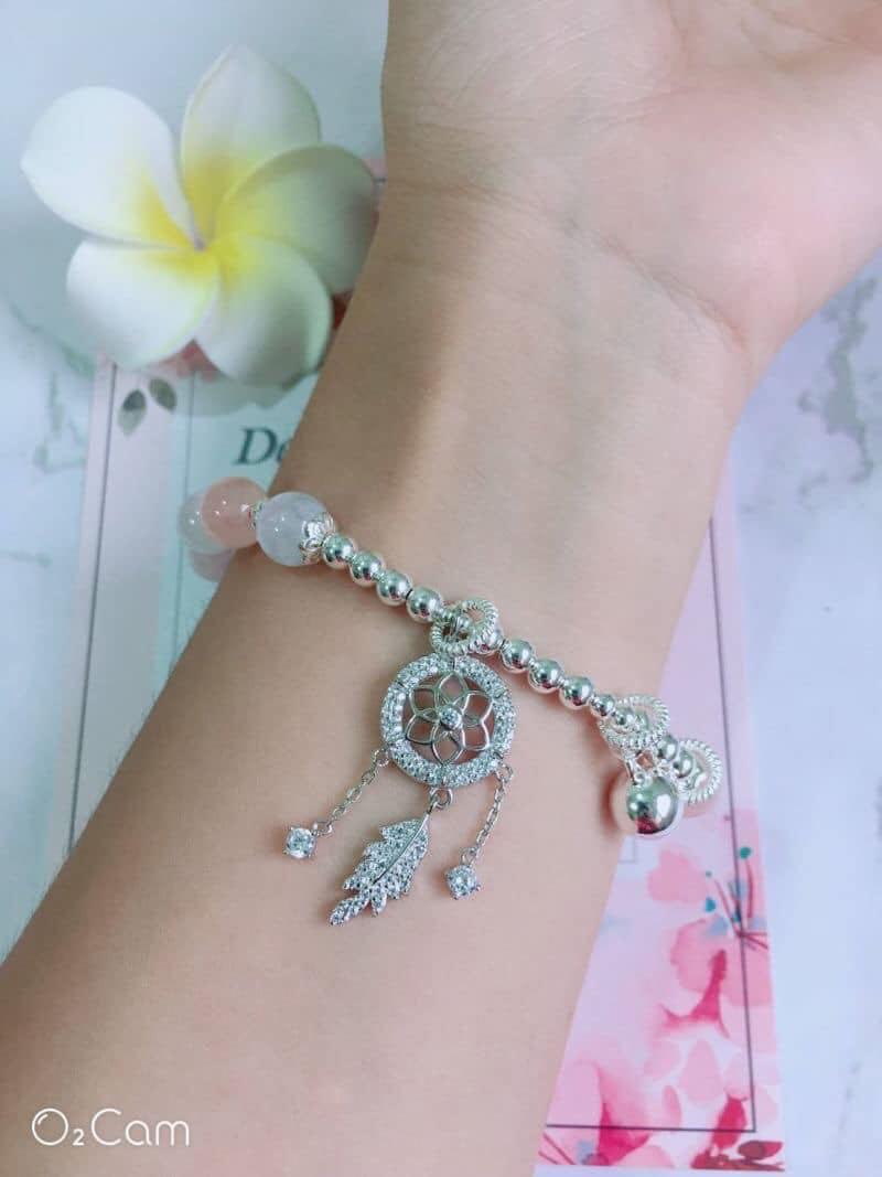 香港正生銀飾晶石類✈️ 捕夢網摩根石純銀手鍊