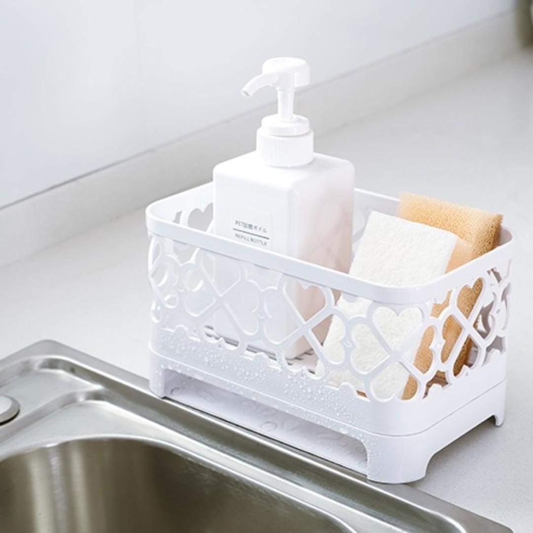 [全新] 米色 廚房 瀝水 置物架 菜瓜布 海绵架 簍空 塑料