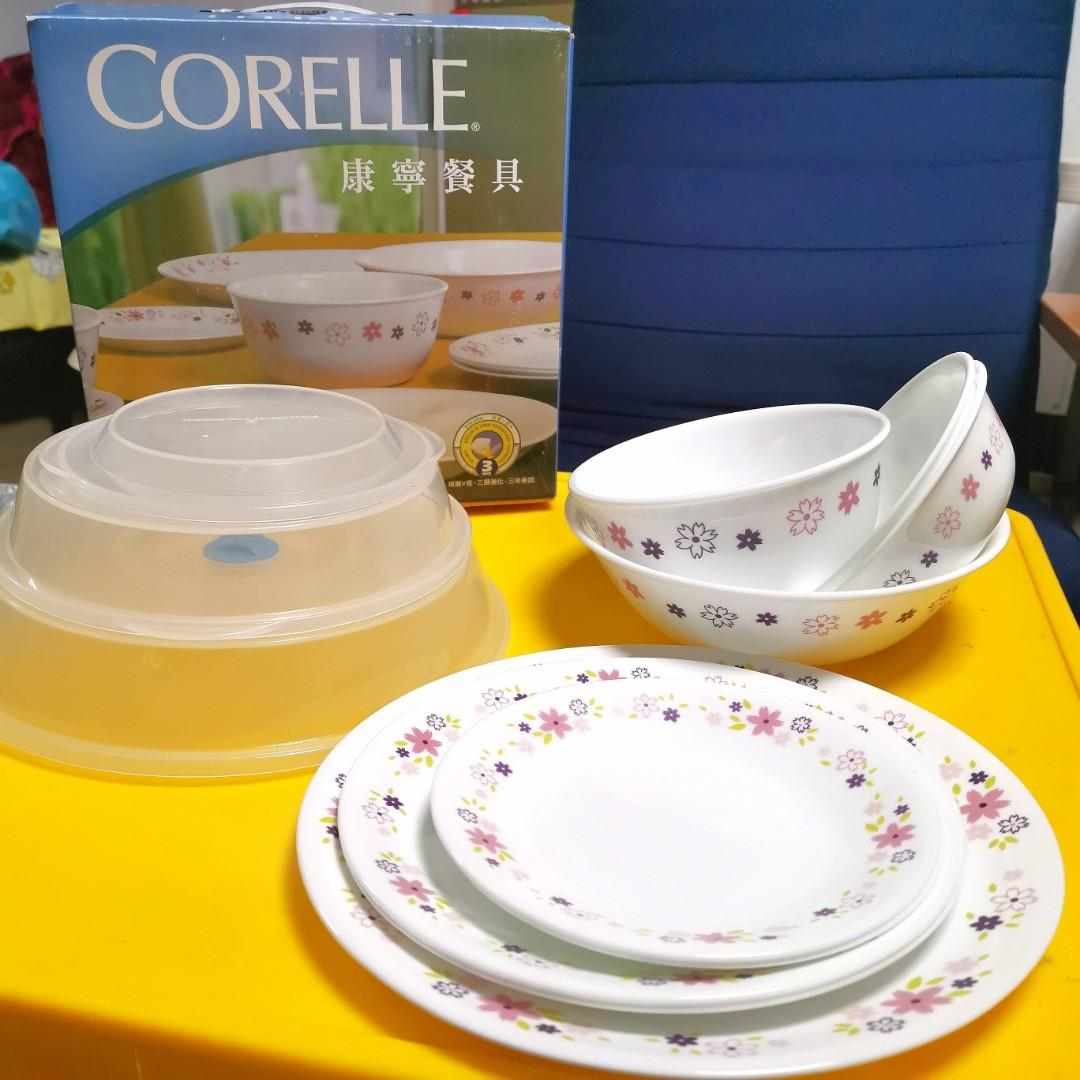 美國 康寧 CORELLE 花漾派對餐具組 12件組 沙拉碗 湯碗 6/8/10吋 平盤 主餐盤 微波蓋 花邊盤