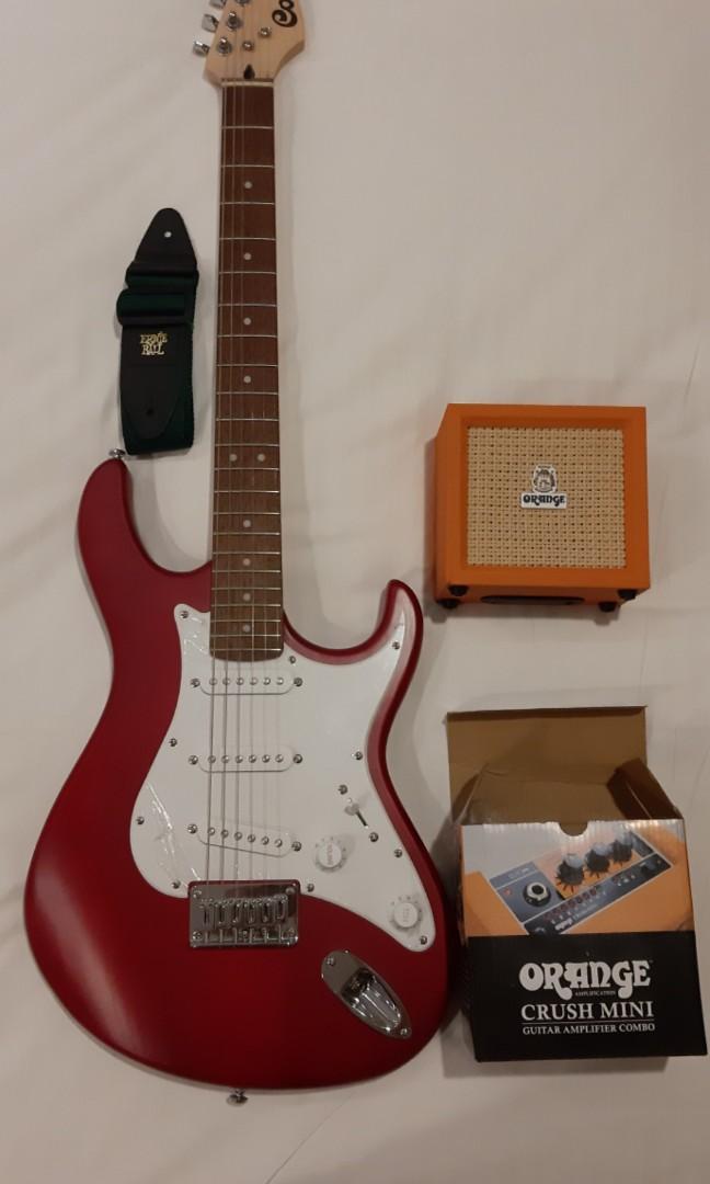自售 CORT 電吉他  紅色 吉他 新手 初學 吉他組 Orange 音箱 背帶  導線 價錢誠可議