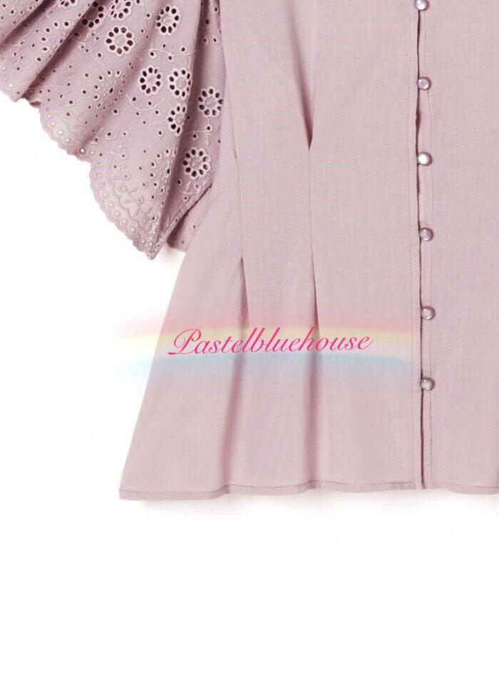 香芋粉色🌸日系飛袖刺繡花恤衫上衣 Japan laser cut eyelet embroidery pleats shirt top taro pink top