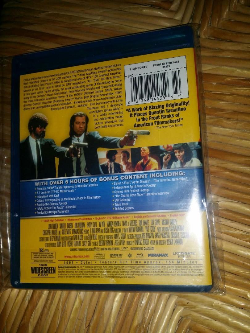中古二手藍光碟 Pulp Fiction 危險人物 Blu-ray (US Version) bluray 英文字幕 獨家超過6小時特別收錄