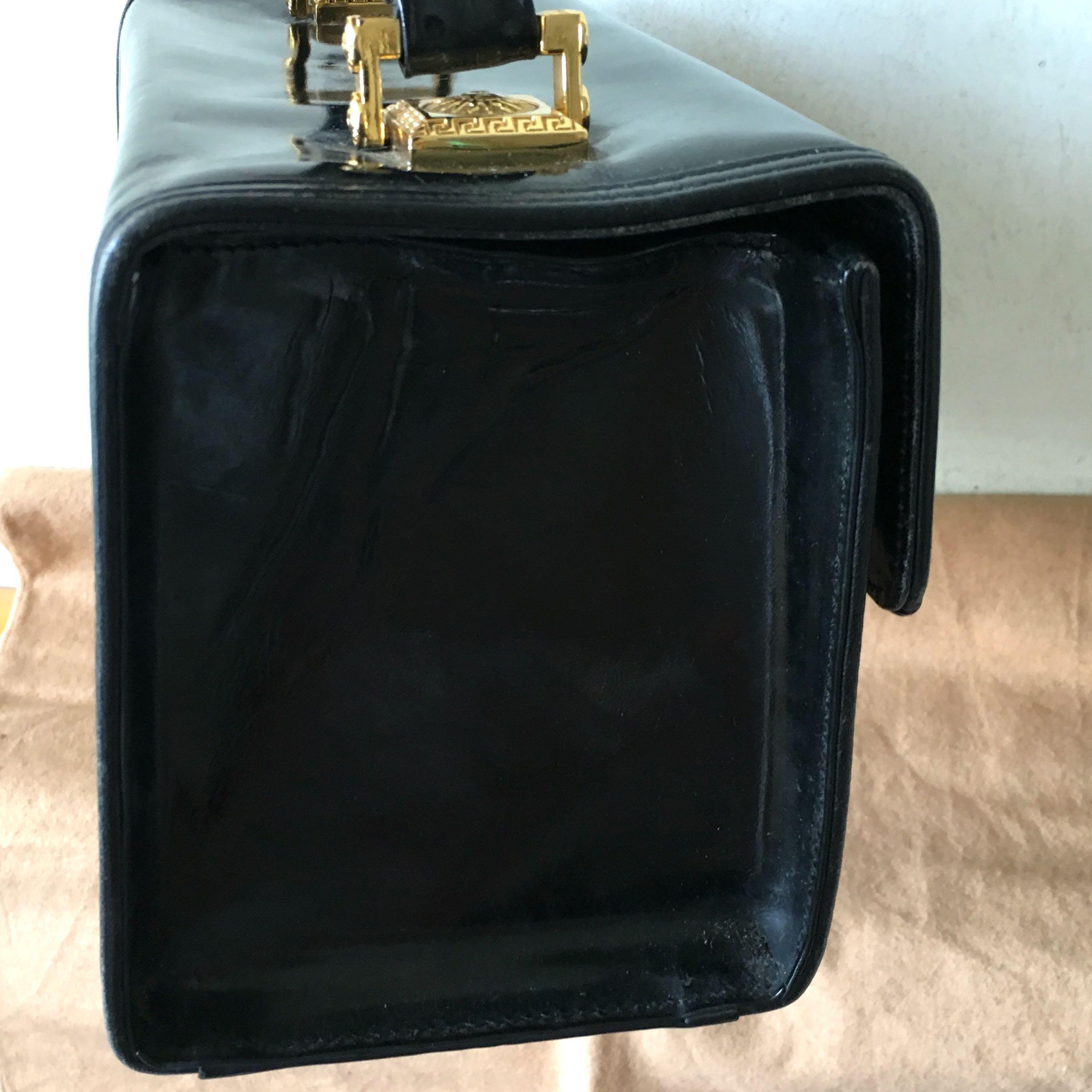 黑色 Versace Box Handbag sunburst  中古款 手提款 化妝袋