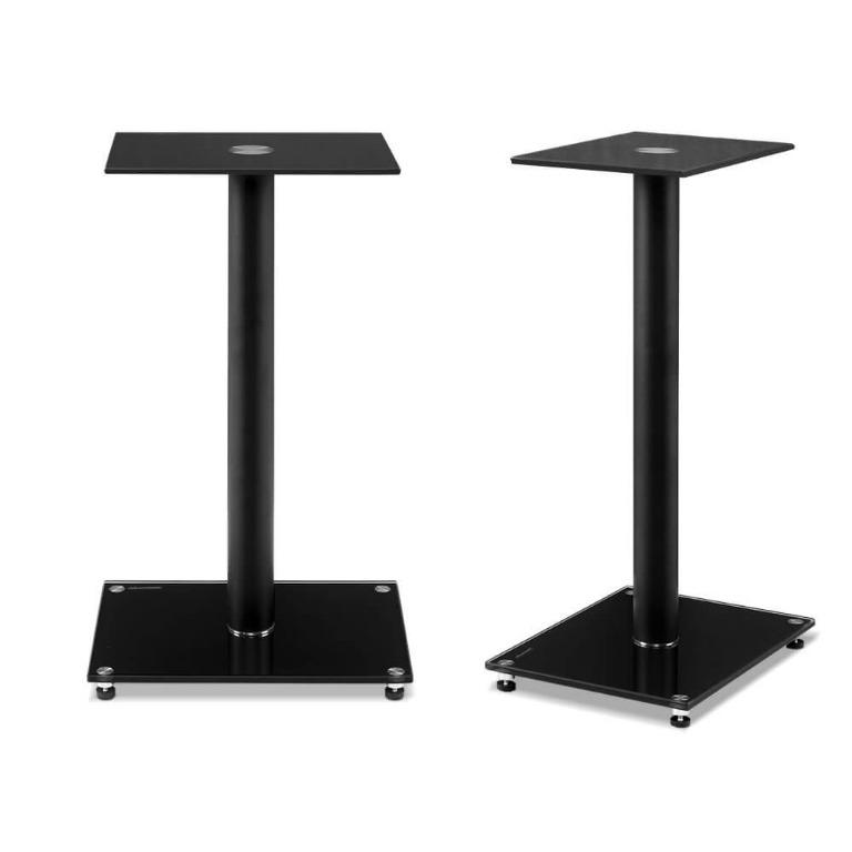 Artiss 2x Speaker Stand Tempered Glass Floor Stands Home Theatre 58cm Black