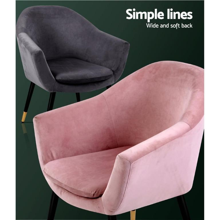 Artiss Armchair Lounge Chair Accent Armchairs Retro Single Sofa Velvet Pink Seat