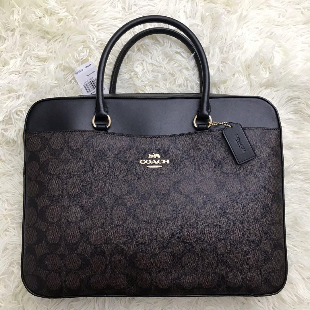 Authentic Coach Laptop Bag Brown For