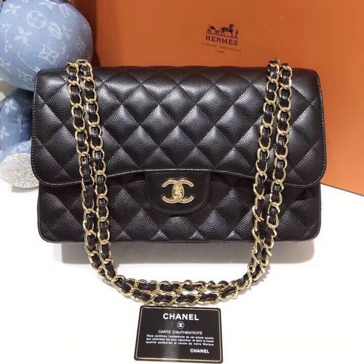 Authentic Pre-loved Chanel Jumbo Caviar Leather Double Flap