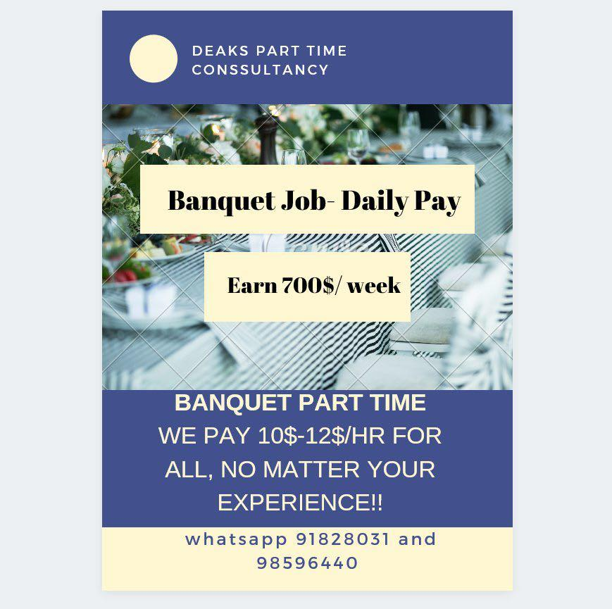 Banquet part time / 10-12$
