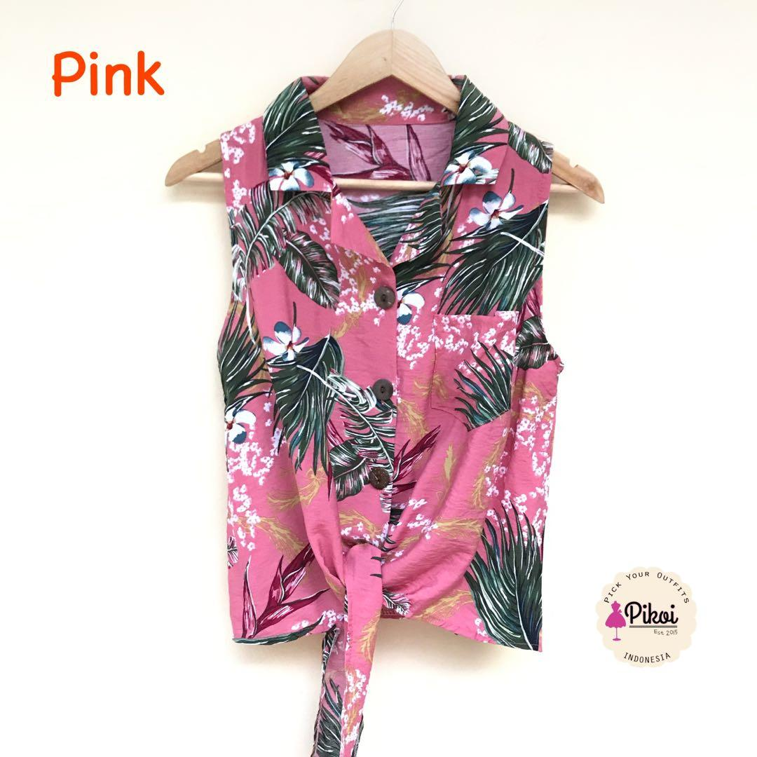 Blouse Summer / Sleeveless summer ikat / baju pantai wrap / floral blouse daun kuning / 2086