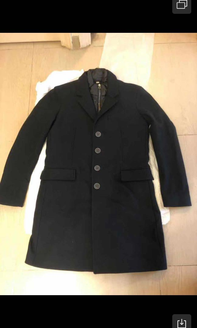 Burberry 男裝 深藍色 經典款 羊毛長褸大褸 加 內層背心夾棉 雙件套  48碼 100%全新 市價$18000