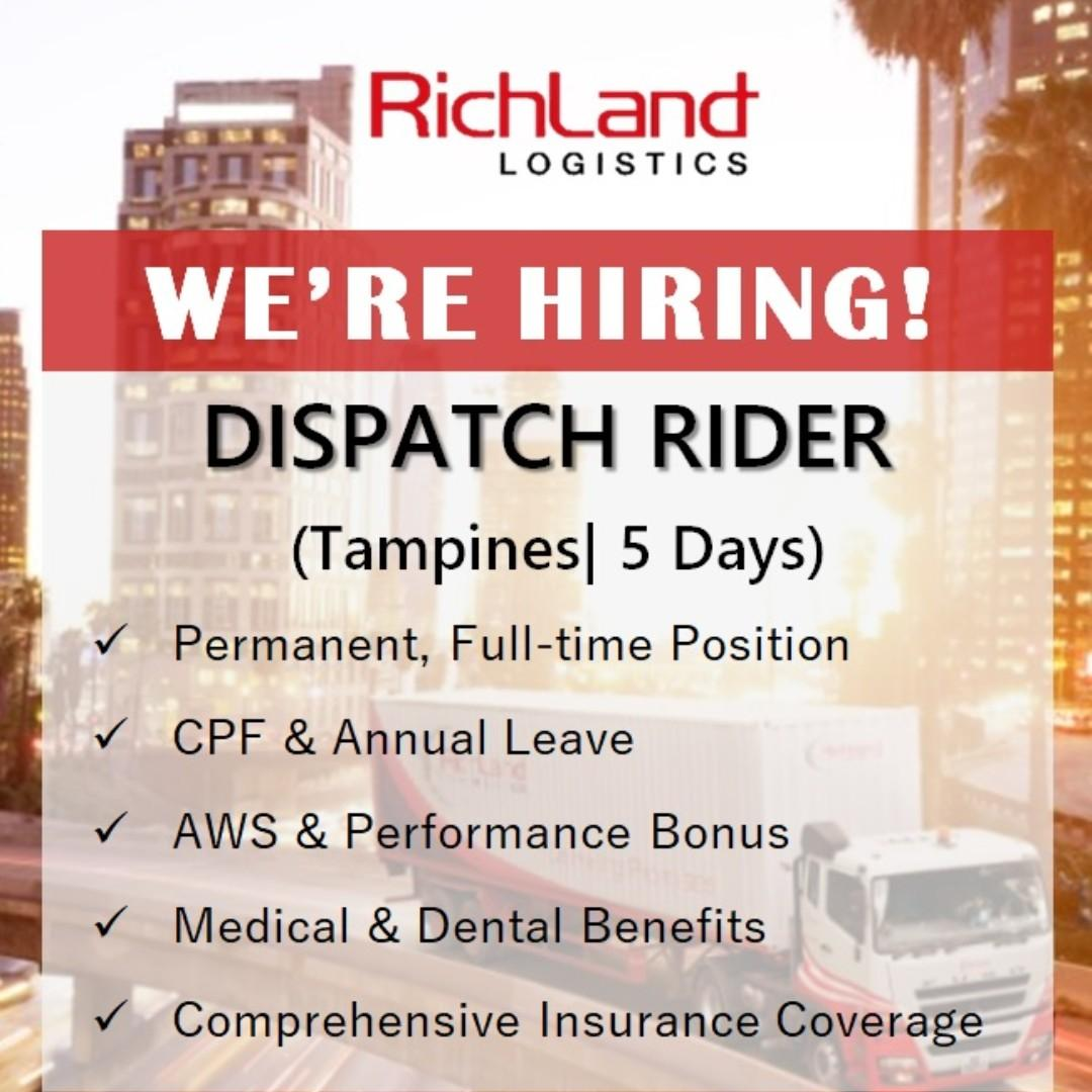 DISPATCH RIDER (TAMPINES | 5 DAYS | AWS & BONUS)